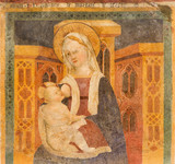 BRESCIA, ITALY - MAY 21, 2016: The fresco of Madonna (Madonna del Latte) in church Chiesa di Santa Maria della Carita by unknown artist from 14. cent. primarily from St. Jerome cloister.