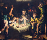 BRESCIA, ITALY - MAY 21, 2016: The painting of Nativity in church Chiesa del Santissimo Corpo di Cristo by Pier Maria Bagnadore (1550 - 1627). - 114843503
