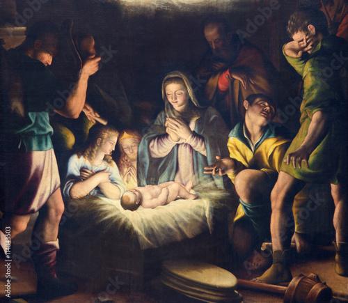 Fototapeta BRESCIA, ITALY - MAY 21, 2016: The painting of Nativity in church Chiesa del Santissimo Corpo di Cristo by Pier Maria Bagnadore (1550 - 1627).