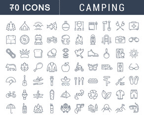 Set Vector Flat Line Icons Camping