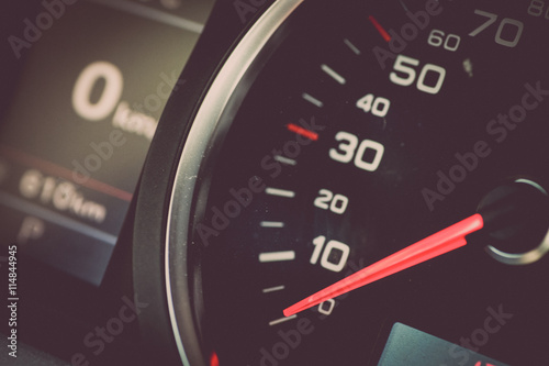 Motorcycle speedometer detail Poster