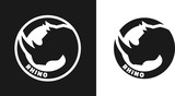 Silhouette of an rhino, monochrome logo. - 114848779