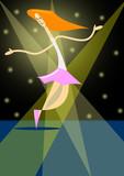 Danzando en el escenario iluminado por los focos del éxito.