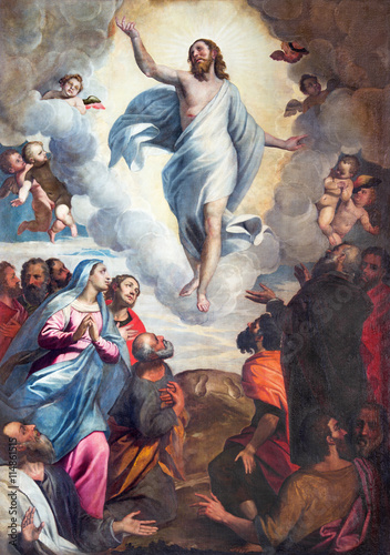 Plakat BRESCIA, ITALY - MAY 22, 2016: The painting Ascension of the Lord in church Chiesa di Santa Maria del Carmine by Bernardino Gandino (1587 - 1651).