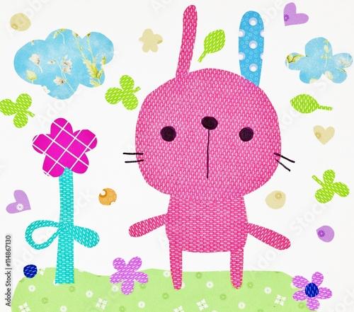Naklejka Little bunny. Illustration for children