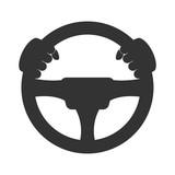 Fototapety Driver icon. Flat icon of steering wheel on white background