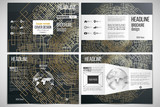 Set of tri-fold brochure design template on both sides with world globe element. Golden technology pattern, dark background, connecting lines and dots, connection structure. Digital scientific vector