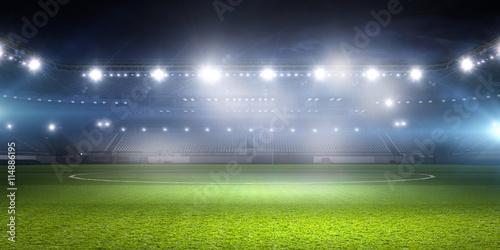 Football stadium in lights . mixed media Poster