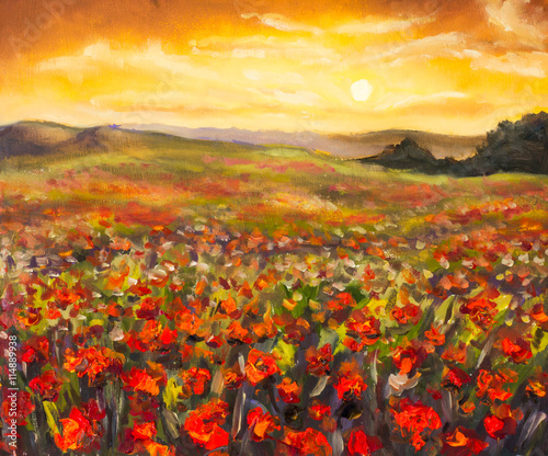 Fototapeta Colorful field of red poppies at sunset hand made oil painting on canvas. Impressionist art.