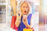 Shocked woman at the shopping mall