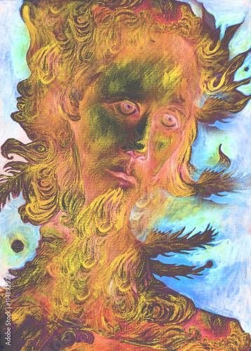 Zdjęcia na płótnie, fototapety, obrazy : nature spirit - the wind prophet with feathers, drawing