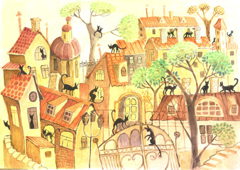 city and cats, watercolor