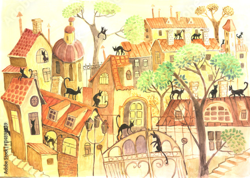 Obraz na Szkle city and cats, watercolor
