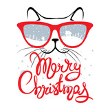Christmas card, Cat in glasses/Funny Christmas hand drawing calligraphy, vector illustration