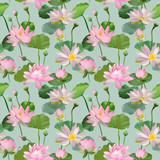 Vintage Waterlily Flowers in Watercolor Style. Seamless Background