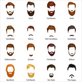 Mans hair set of beards and mustaches vector. Hipster style fashion beards and hair isolated illustration. Peoples hairstyle icon, collection of beards and mustaches for barbershop.