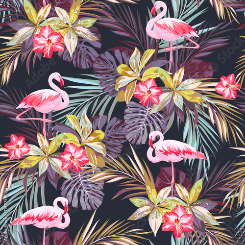 Cotton fabric Tropical summer seamless pattern with flamingo birds and exotic plants