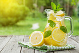 Lemonade with lemon, mint and ice