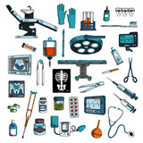 Medical instruments and equipments sketch icons
