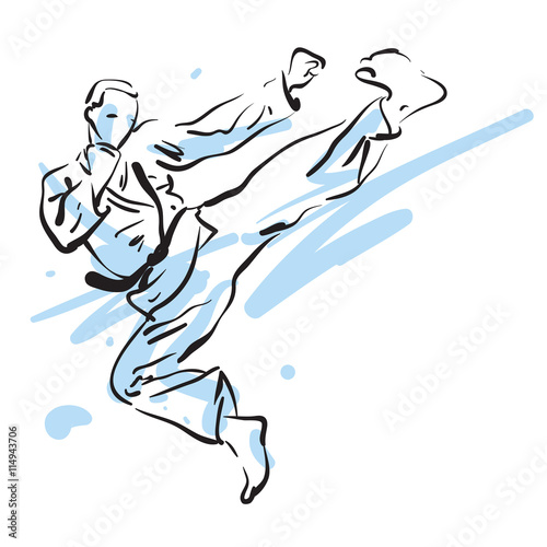 Fototapeta karate side kick