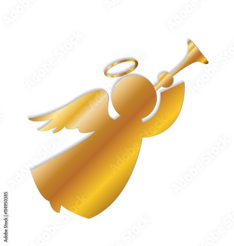 Naklejka Angel gold color vector logo image