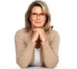 Senior business woman portrait with eyeglasses.