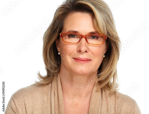 obraz lub plakat Senior business woman portrait with eyeglasses.
