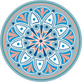 Drawing of a floral mandala in blue, pink and white colors on a white background