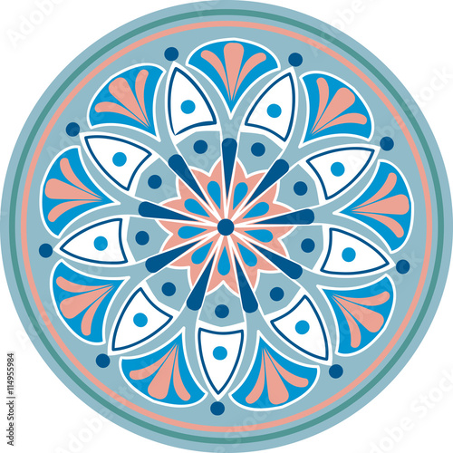 Zdjęcia na płótnie, fototapety, obrazy : Drawing of a floral mandala in blue, pink and white colors on a white background