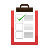 Checklist or document icon with green approval sign, vector illustration eps10