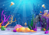 Fototapety Underwater world cartoon illustration