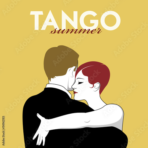 Aluminium Vintage Poster Couple dancing tango. Comic style.