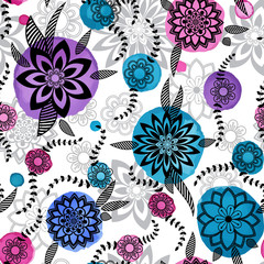 Hand drawn floral seamlees pattern
