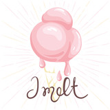 Watercolor ice cream - I melt/Funny summer hand drawing calligraphy - 114964969