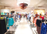CCTV Security camera shopping department store on background. - 114965769