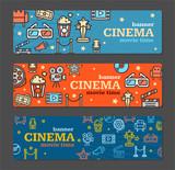 Cinema Banner Card Tickets Set. Vector