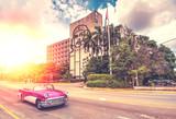 vintage car in  Havana, Cuba, vintage effect