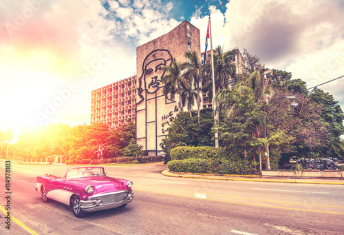 vintage car in Havana, Cuba, vintage effect