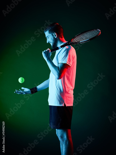 Poster tennis player man isolated