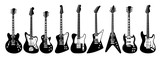Electric guitar set on white background. All guitars as lps, jaguar, l5s, firebird, thinline, explorer, v, sg, soloist.