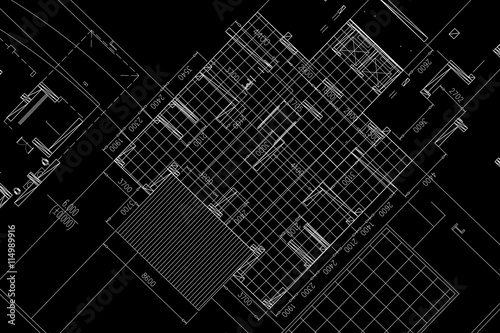 Fototapeta Architectural background, architectural plan, construction drawing