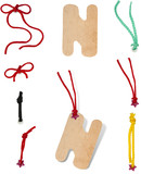 label tag with a set of cord, alphabet letter N