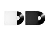 Fototapety Blank white and black vinyl album cover sleeve mockup, isolated, clipping path. Gramophone music record clear surface mock up. Paper sound shellac disc label template. Cardboard vinyl disk package