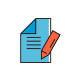 Document with Pencil as Note Concept Icon