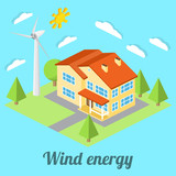 Low-energy house with wind turbine. For web design, mobile and application interface, also useful for infographics. Isometric Passive House concept. Vector illustration.