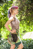 Beautiful Amazon girl with pink hair