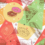 Fast food seamless pattern. Trendy geometric elements memphis cards. Texture, pattern and geometric elements. Elements on the theme of the restaurant business. Vector illustration.