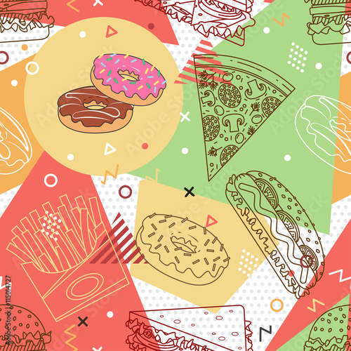 Fast food seamless pattern. Trendy geometric elements memphis cards. Texture, pattern and geometric elements. Elements on the theme of the restaurant business. Vector illustration. - 115014727