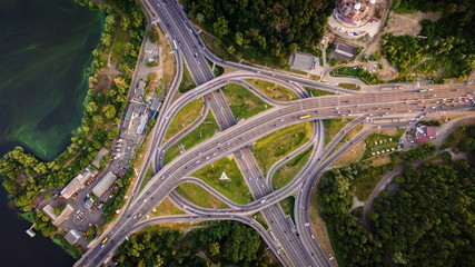 Aerial view of highway interchange. Paton Bridge. Kiev, Ukraine.