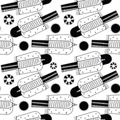 Flying birds black and white seamless pattern